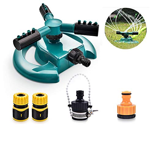 Preisvergleich Produktbild L&U Gartenregner mit 4 Düsen - Automatische Rasenregner mit 360 ° -Drehung,  3-Arm-Sprühgerät,  Drehregner für Code,  Gartenschlauchanschluss
