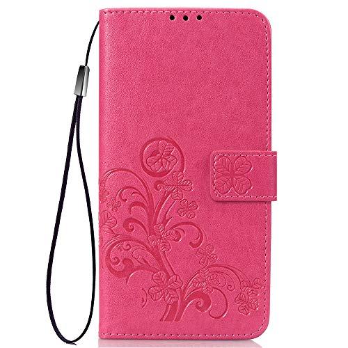 LNLYY Echt Leder Geldbörse Flip Folio Kartenfächer Schutzhülle für Samsung Galaxy ON5/O5/G550 Hülle Rosa