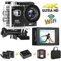 Yue Ying Action Camera Ultra HD 4K 16MP,LCD 5 cm, fino a 30m sott'acqua, Videocamera sportiva ad ampio angolo di 170° con 2 Batterie Ricaricabili da e Kit di Fissaggio, per Attività All'aperto.