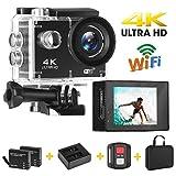 Yue Ying Cámara de acción Ultra HD 4K 16MP, LCD 5cm, Hasta 30 m Bajo el Agua, Cámara Deportiva gran angular de 170°con 2 baterías recargables de 1050mAh y kit de montaje。