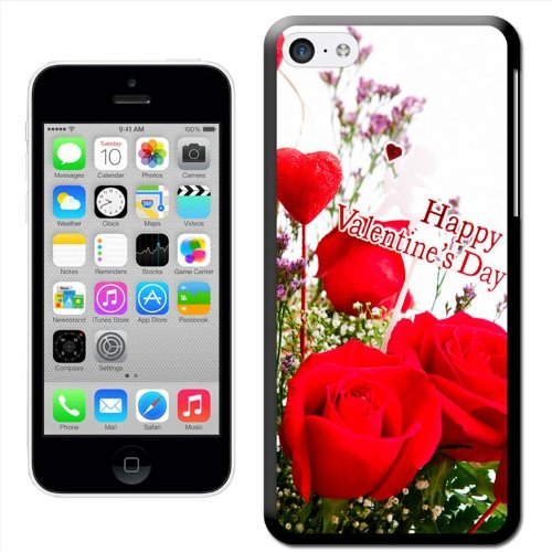 Fancy A Snuggle 'Happy Valentinstag Herzen und Rosen' Hard Case Clip On Back Cover für Apple iPhone 5 C Roses & Hearts