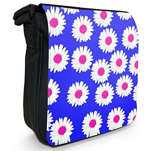 Dainty margherite-Borsa a tracolla in tela, piccola, colore: nero, taglia: S Blue Dainty Daisies