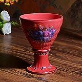 Kiteshaser Tazza in Ceramica Colore Rosso Vintage Tazza in Ceramica Coppa Gelato Coppa Rosa Calice Collezione Home Office 280ML + -