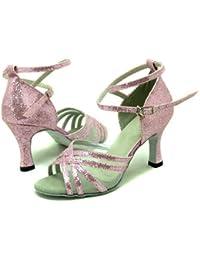 colorfulworldstore Zapatos de baile latino con cinco correas en forma de red con acabado en brillantitos azules/rosas/rojos