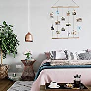 Hanging Picture Display, DIY Picture Photo Frame Collage Set Including Wood Clips, Poster Card and LED Light