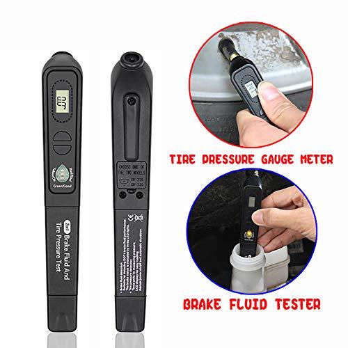 nieliangw0q Tester Stift 2-in-1 Auto Fahrzeug Bremsflüssigkeit Flüssigkeit Tester Stift LCD Reifen Manometer Meter Diagnoseinstrument -