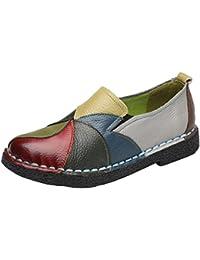 Wealsex Mocasín Zapatos de Mujer Bloque De Color Mocasín Casual De PU Cuero Para Mujer Zapatos