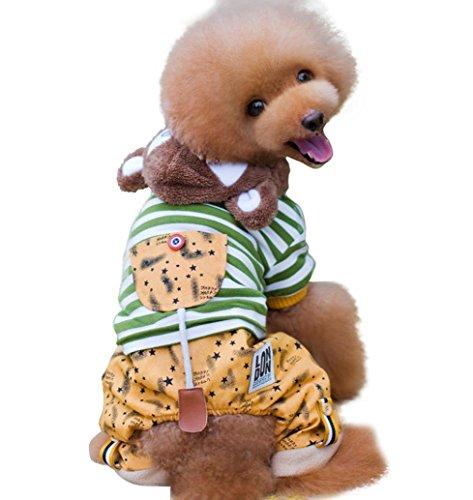 HKFV KLN-1712 London Haustier warme Baumwoll-Jacke mit vier Beinen Baumwolle Haustier-Welpen-Hundekatze-Kleidunghoodie-Mantel-Overall-Kostüm-Kleid Pet coat Haustier warme Baumwolle (XL, Grün)