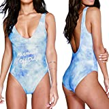 WIDEN ELECTRIC Women Push Up Padded Letter Printed Blue Bra One Piece Swimsuit Beachwear Bikini Bathing Suit