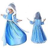 Mädchen Eiskönigin Schneeprinzessin Kostüm Prinzessin Kostüm mit Umhang Kinder Kleid Mädchen Weihnachten Verkleidung Karneval Party Halloween Fest Kleidung (100-110cm (Herstellergröße: 110cm))