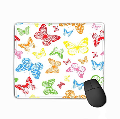 Mouse Pad Color Butterfly Background Abstract Print Textile Paper Colored Rectangle Rubber Mousepad 11.81 X 9.84 Inch