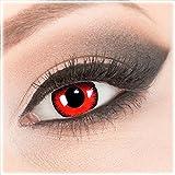 Farbige Evil Lens rote Crazy Fun rote Kontaktlinsen Red Lunatic perfekt zu Fasching, Karneval und Halloween, Vampir, Demon Blut rot mit gratis Behälter und 60ml Pflegemittel Topqualität zu Karneval und Halloween