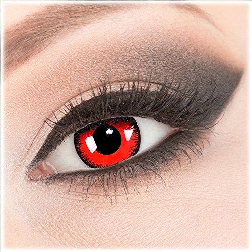 Farbige rote schwarze Crazy Fun Kontaktlinsen 1 Paar 'Red Lunatic' mit Behälter - Topqualität von 'Evil Lens' zu Fasching Karneval Halloween ohne Stärke