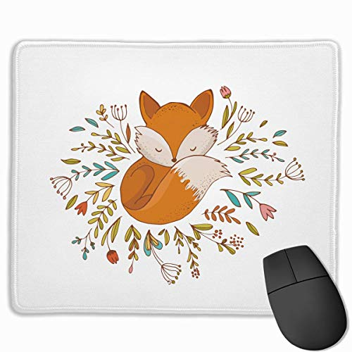 Fox Sleeping in A Floral Made Bed Circle Personalized Design Mauspad Gaming Mauspad with Stitched Edges Mousepads, Non-Slip Rubber Base, 300 x 250 x 3 mm Thick - Best Gift Idea