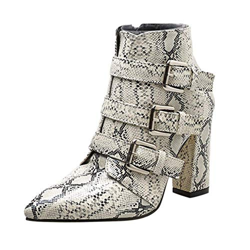 eujiancai Women Snakeskin Pattern Boots, Womens Snakeskin Pattern Toe Zip Belt Buckle Thick Pointed Booties Shoes Durable Practical Boots (White) -