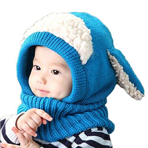 Tongshi Invierno del bebé Niños Chicas Chicos Caliente lana Cofia Capucha Bufanda Caps Sombreros(azul)