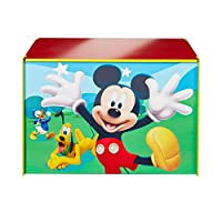 Disney Mickey Mouse Kids Toy Box - Childrens Bedroom Storage Chest with Bench Lid by HelloHome