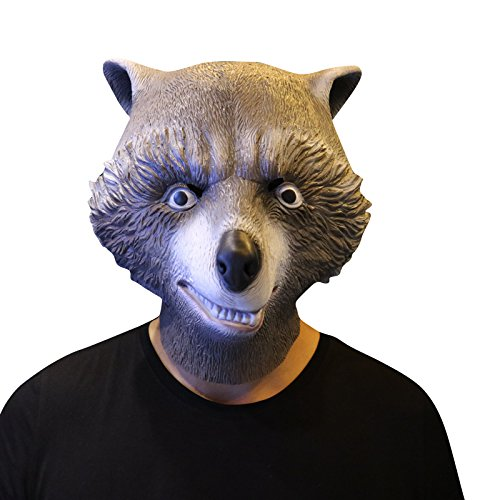 Guardians of the Galaxy Rocket Raccoon Wächter Waschbär Maske - perfekt für Fasching, Karneval & Halloween - Kostüm für Erwachsene - Latex, Unisex Einheitsgröße (Waschbär-halloween-kostüm)