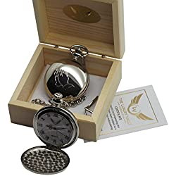 Prayer Silver Pocket Watch Praying Hands FREE Engraving Luxury Faith Religious Gift in Wooden Case Engraved no extra charge