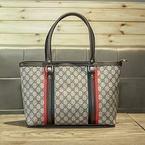 LFGCL Bags womenPrinted Contrast Ribbon Wrap Bag Schultertasche mit großer Kapazität, Kaffeefarbe