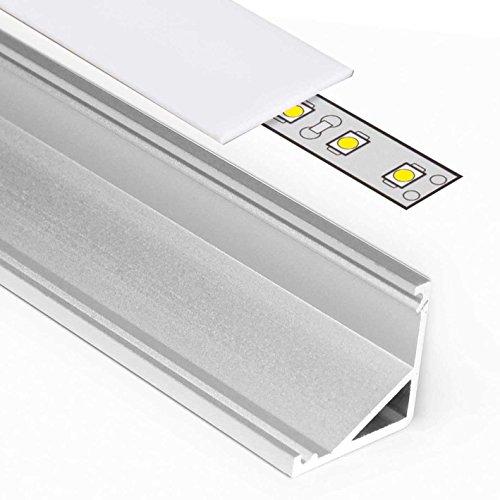 2m Aluprofil CABI (BA) 2 Meter Aluminium Ecke Profil-Leiste eloxiert für LED Streifen - Set inkl Abdeckung-Schiene milchig-weiß opal mit Endkappen (2 Meter milchig slide) -