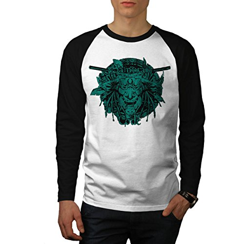 Samurai Code Traditon Maske Herren NEU Weiß (Schwarz Ärmel) L Baseball lange Ärmel T-Shirt | Wellcoda (Godzilla Maske)