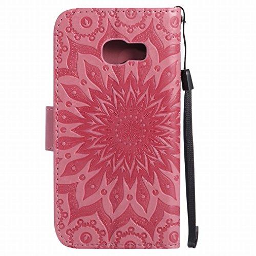 LEMORRY Samsung Galaxy A3 (2017) Custodia Pelle Cuoio Flip Portafoglio Borsa Sottile Bumper Protettivo Magnetico Morbido Silicone TPU Cover Custodia per Galaxy A3 (2017) / A320F, Fiorire Oro Rosa Rosa