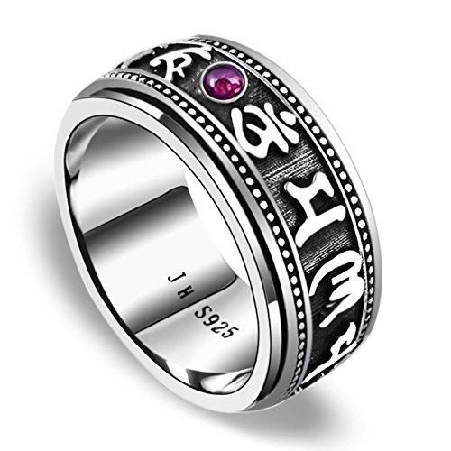 Adisaer Ring Sterling Silber 925 Herren Ringe Sechs Worte Mantra mit Zirkonia Blau Silber Ringgröße 66 (21.0) Gothic Hochzeit (Sterling Silber Siegelring Männer)