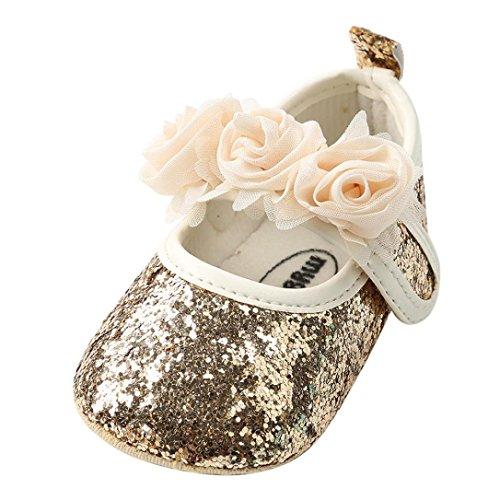 BeautyTop Scarpe da Bambina Ballerina Neonata Scarpe da Principessa Ragazze Floreale Mary Jane Basse Pantofole Scarpe da Barca Sandali Bridal Partito Formale (12-18 Mese, Oro)