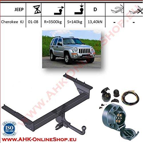 ATTELAGE avec faisceau 7 broches   Jeep Cherokee de 2001 à 2007 / crochet «col de cygne» démontable avec outils