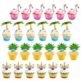 ZoomSky 24 Set süße Cupcake Wrapper Papier Einhorn/Flamingo/Ananas/Palm Muffin Backen Hüllen Kuchen Dekoration für Kinder Jungen Mädchen Hawii Geburtstag Party Deko