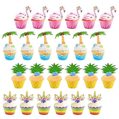 ZoomSky 24 Set süße Cupcake Toppers Wrappers, Hawaii Einhorn/Flamingo/Ananas/Palm Muffin Backen Hüllen Kuchen Dekoration für Kinder Jungen Mädchen Geburtstag Luau Aloha Party Deko