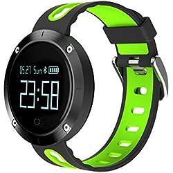 Smart Armband, 9Tong Wasserdichte Smart Fitness Armbänder mit Pulsmesser, Herzfrequenz Monitor Schwimm Sportuhr Aktivitätstracker Podometer Fitness Tracker für Android iOS Smartphones (Schwarz & Grün)