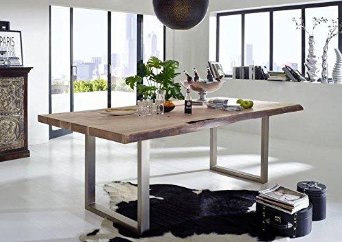 Table à manger 250x110cm – Fer et bois massif d'acacia laqué (Natural Stone) - FREEFORM #131