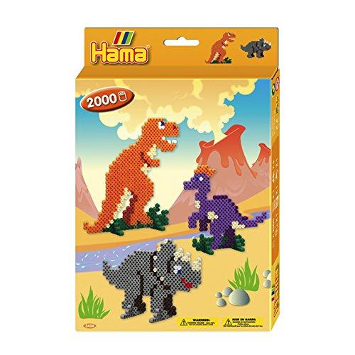 Preisvergleich Produktbild Hama 3434 - Perlenset Dino Welt, circa 2000 Bügelperlen, 1 Stiftplatte und Zubehör