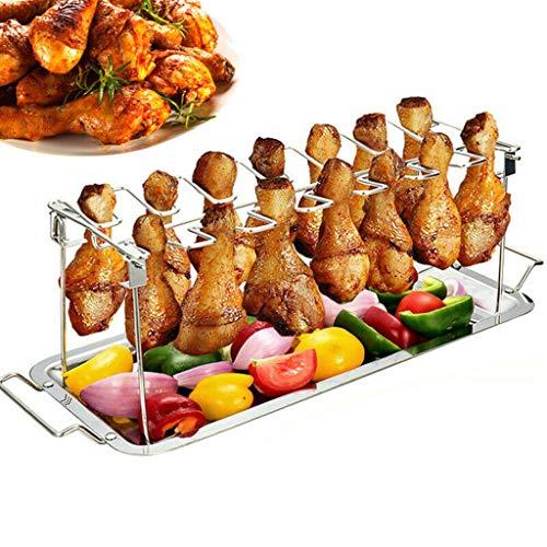 Wokee 2 Pcs Set Auffangschale + Barbecue Grill,Hähnchenschenkel Halter für perfekt gegrillte Chicken Wings,Ideales Grillzubehör für Kugelgrill, Gasgrill, Holzkohlegrill und mehr -