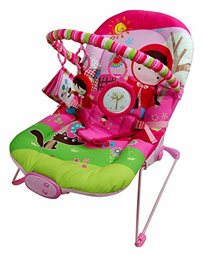 Just4baby Pink Girl Musical Melodies Soothing Vibration Baby Bouncer Bouncing Rocker Reclining Chair with 3 Hanging Toys 51Hw9WwnGxL