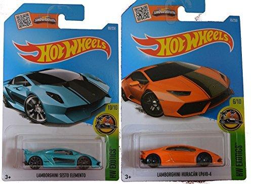 Hot Wheels 2016 Lamborghini Sesto Elemento Turquoise & Orange Lamborghini Huracan LP610-4 2-Car Exotic Set by Team Hot Wheels