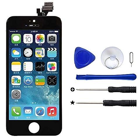 Novonest Noir Complet LCD Vitre Touch ECRAN pour iPhone 5 Bloc Assemble Neuf,Vitre Tactile + Ecran LCD Retina SUR CHASSIS + Outils