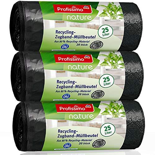 Nature Recycling Zugband Müllbeutel - 25 Liter (60 Stück) - aus 80% Recycling Material - 3er Pack (3x20 Stück) -