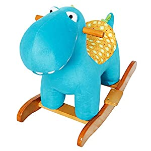 Labebe Baby Wooden Rocking Horse Blue Dinosaur, Boys & Girls Toddler Rocking Ride-on Toys for 1-3 years old, Stuffed Animal Seat, ASTM/CE/CE Safety Certified, Creative Birthday Gift