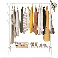 Lukzer 1PC Multipurpose Metal Garment Rack with Top Rod and Lower Storage Shelf with Hooks Heavy Duty Clothes Coat Stand…