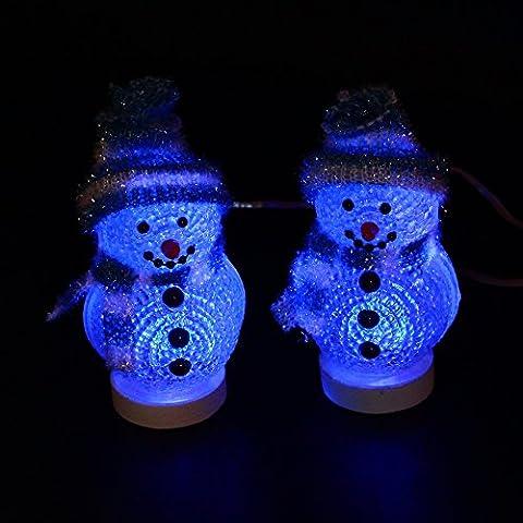 Generic LED Mini USB Propulsé Changement de couleur décoratif Snowman lumière pour Merry Christmas Time Holiday Decor- (Set of 2)