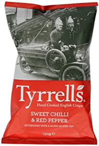 Tyrrells Sweet Chilli and Red Pepper Crisps 150 g (Pack of 12)