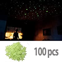 BestOfferBuy 100Pzas 3cm Estrellas Luminosas Pegatina Pared Fluorescente Brilla Oscuridad PVC