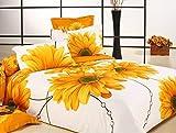 MeMoreCool Home Textile, Blooming Juego de ropa de cama, diseño de girasoles y moda personalizada algodón funda nórdica de girasoles de oro Hoja de cama queen size, 4pcs, algodón, dorado, king size