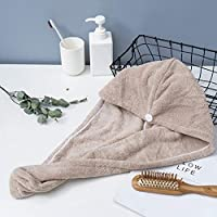 Roloiki Microfiber Bath Towel Wrap Quick Drying Towel Cap Hat Soft Water Absorbent Hair Towel Wrap Shower Cap With Button For Women Lady Girl Curly Long Wet Hair One Size Coffee
