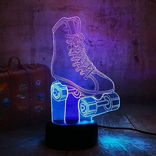 WCSMQT 3D Illusion Lampe Led Nachtlicht Lampen Sportliche Rollschuhe Nachtlichter Kinder Nachttischlampe 7 Farben Ändern Schreibtischlampe Mit Usb-Kabel Für Kinderzimmer Home Decor