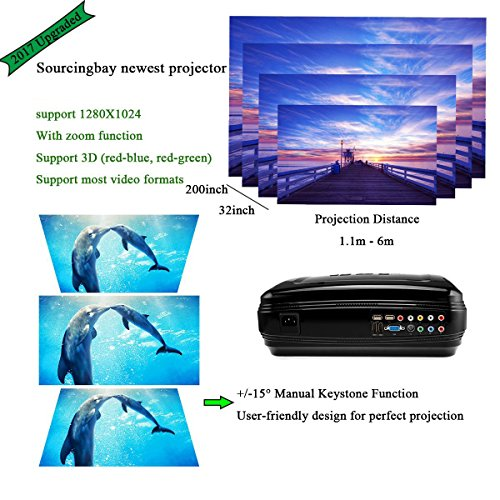 Best Video Projector, Sourcingbay Newest BY58 3200 Lumens 1080P HD LED Projectors Home Cinema Theater Efficiency Backyard Outdoor LCD Support Laptop Xbox VGA USB Speaker HDMI for Computer TV Laptop Gaming SD
