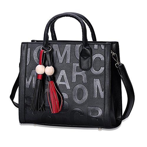 Ladies borse moda piazza una tinta unita [stampa] (colori assortiti)-grigio Nero